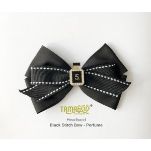 Black Stitch Bow - Perfume Headband
