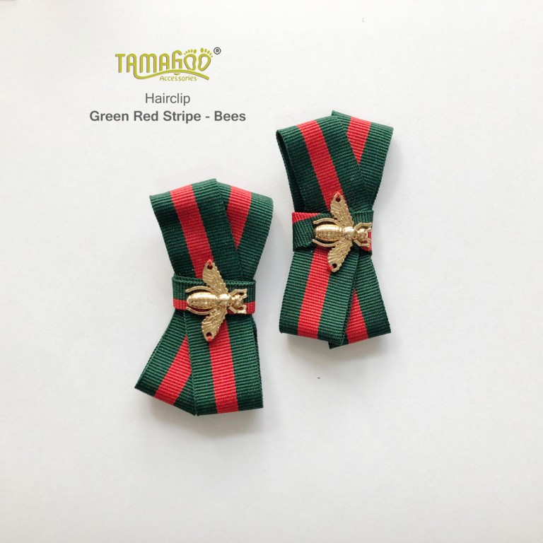 Green Red Stripe Bees headband