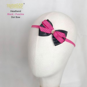 Black - Fuschia Dot Bow Headband
