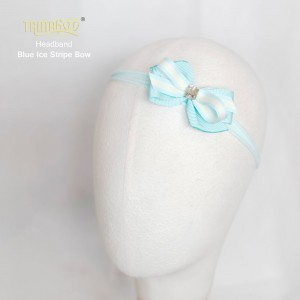 Blue Ice Stripe Bow Headband